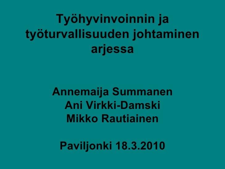Työhyvinvoinnin ja työturvallisuuden johtaminen arjessa Annemaija Summanen Ani Virkki-Damski Mikko Rautiainen Paviljonki 1...