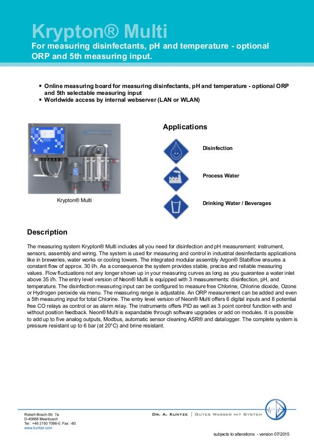 Krypton® Multi For measuring disinfectants, pH and temperature - optional ORP and 5th measuring input. subjects to alterat...
