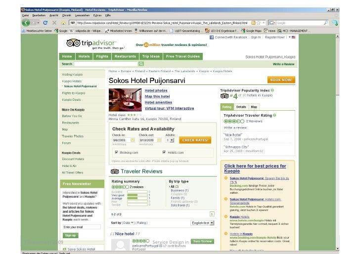 7 September 2009 Service Design in Tourism