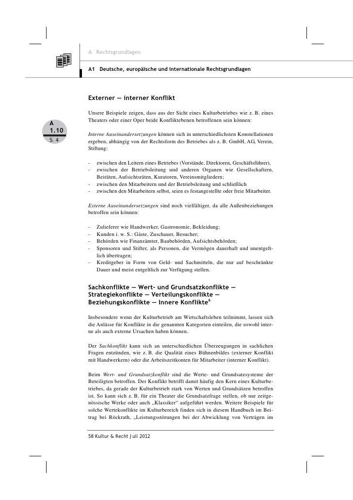 A Rechtsgrundlagen       A1 Deutsche, europäische und internationale Rechtsgrundlagen       Externer ― interner Konflikt  ...