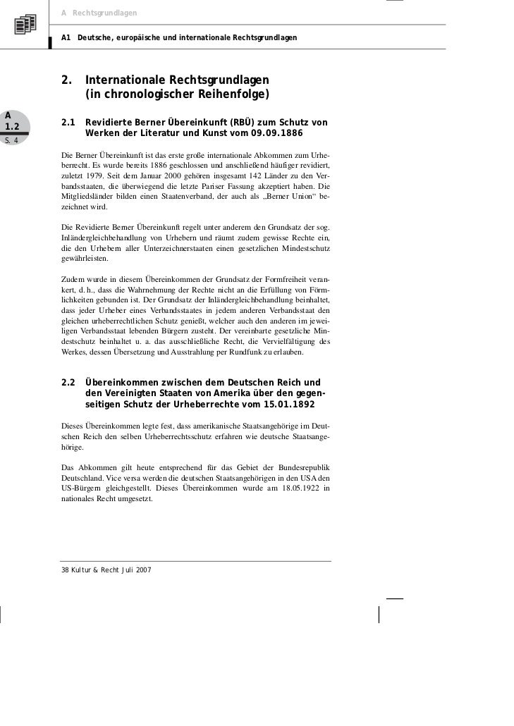 A Rechtsgrundlagen       A1 Deutsche, europäische und internationale Rechtsgrundlagen       2.     Internationale Rechtsgr...