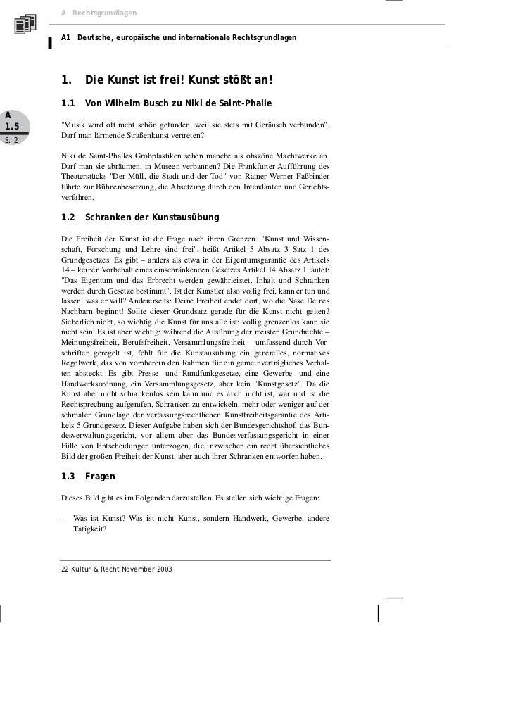 A Rechtsgrundlagen       A1 Deutsche, europäische und internationale Rechtsgrundlagen       1.      Die Kunst ist frei! Ku...