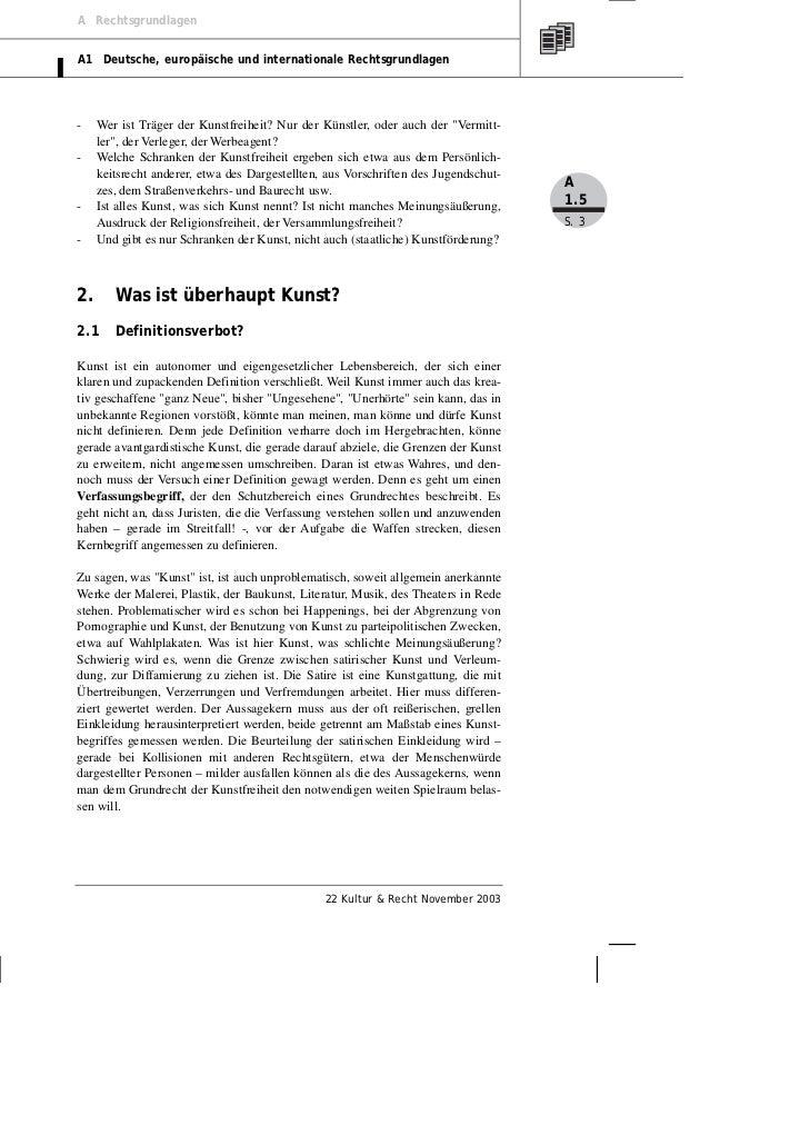 A RechtsgrundlagenA1 Deutsche, europäische und internationale Rechtsgrundlagen-    Wer ist Träger der Kunstfreiheit? Nur d...