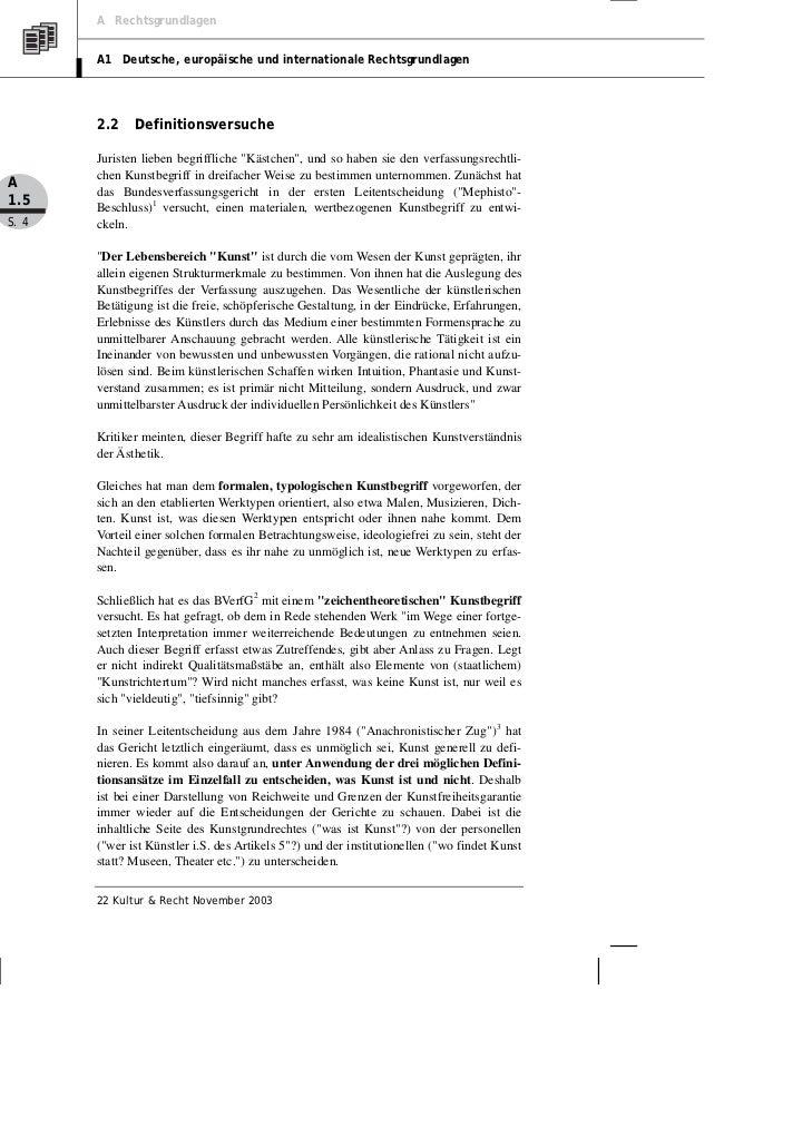 A Rechtsgrundlagen       A1 Deutsche, europäische und internationale Rechtsgrundlagen       2.2    Definitionsversuche    ...