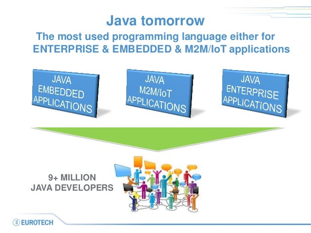 Java tomorrow  The most used programming language either for ENTERPRISE & EMBEDDED & M2M/IoT applications  9+ MILLION  JAV...