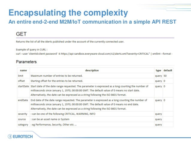 Encapsulating the complexity  An entire end-2-end M2M/IoT communication in a simple API REST