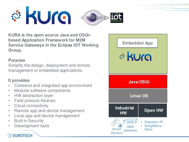 Linux OS  Embedded App  KURA is the open source Java and OSGi- based Application Framework for M2M Service Gateways in the...