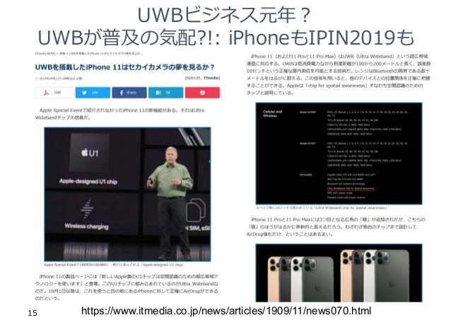 UWBビジネス元年︖ UWBが普及の気配?!: iPhoneもIPIN2019も 15 https://www.itmedia.co.jp/news/articles/1909/11/news070.html