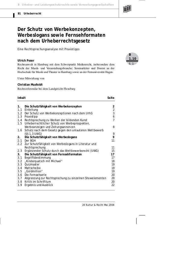 B Urheber- und Leistungsschutzrechte sowie VerwertungsgesellschaftenB1 UrheberrechtDer Schutz von Werbekonzepten,Werbeslog...