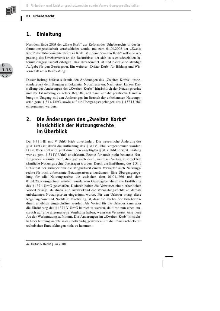 B Urheber- und Leistungsschutzrechte sowie Verwertungsgesellschaften       B1 Urheberrecht       1.     Einleitung       N...