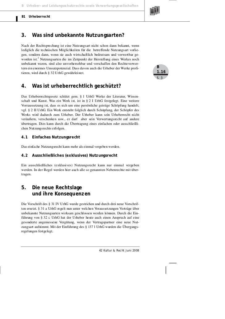 B Urheber- und Leistungsschutzrechte sowie VerwertungsgesellschaftenB1 Urheberrecht3.     Was sind unbekannte Nutzungsarte...