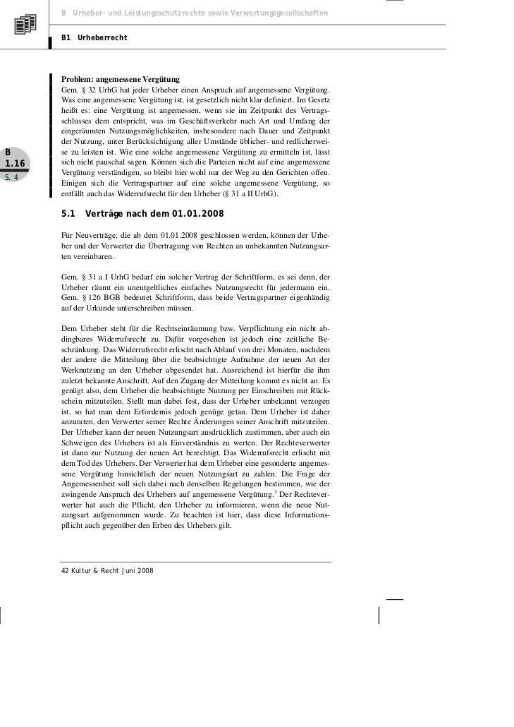 B Urheber- und Leistungsschutzrechte sowie Verwertungsgesellschaften       B1 Urheberrecht       Problem: angemessene Verg...