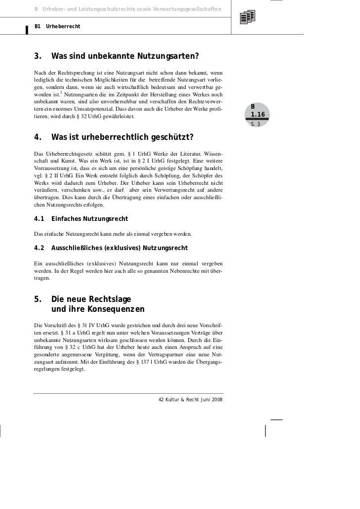 Brelle Jurack Urheberrechtsreform Nutzungsrechte Für Unbekannte Nu