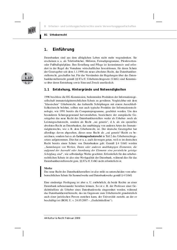 B Urheber- und Leistungsschutzrechte sowie Verwertungsgesellschaften       B1 Urheberrecht       1.     Einführung       D...
