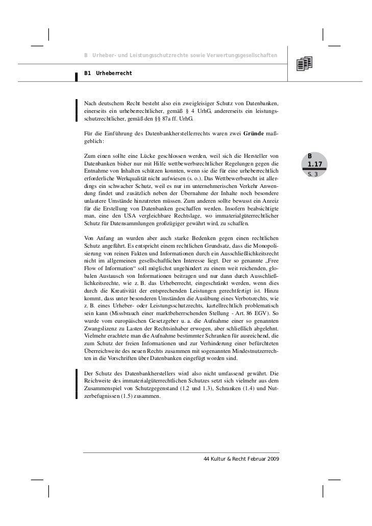 B Urheber- und Leistungsschutzrechte sowie VerwertungsgesellschaftenB1 UrheberrechtNach deutschem Recht besteht also ein z...