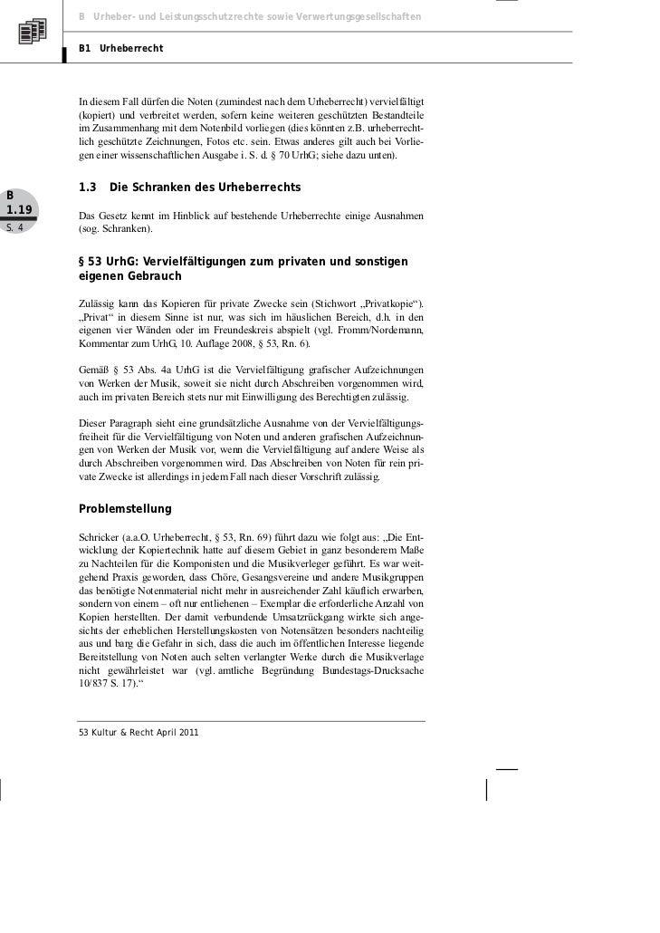 B Urheber- und Leistungsschutzrechte sowie Verwertungsgesellschaften       B1 Urheberrecht       In diesem Fall dürfen die...
