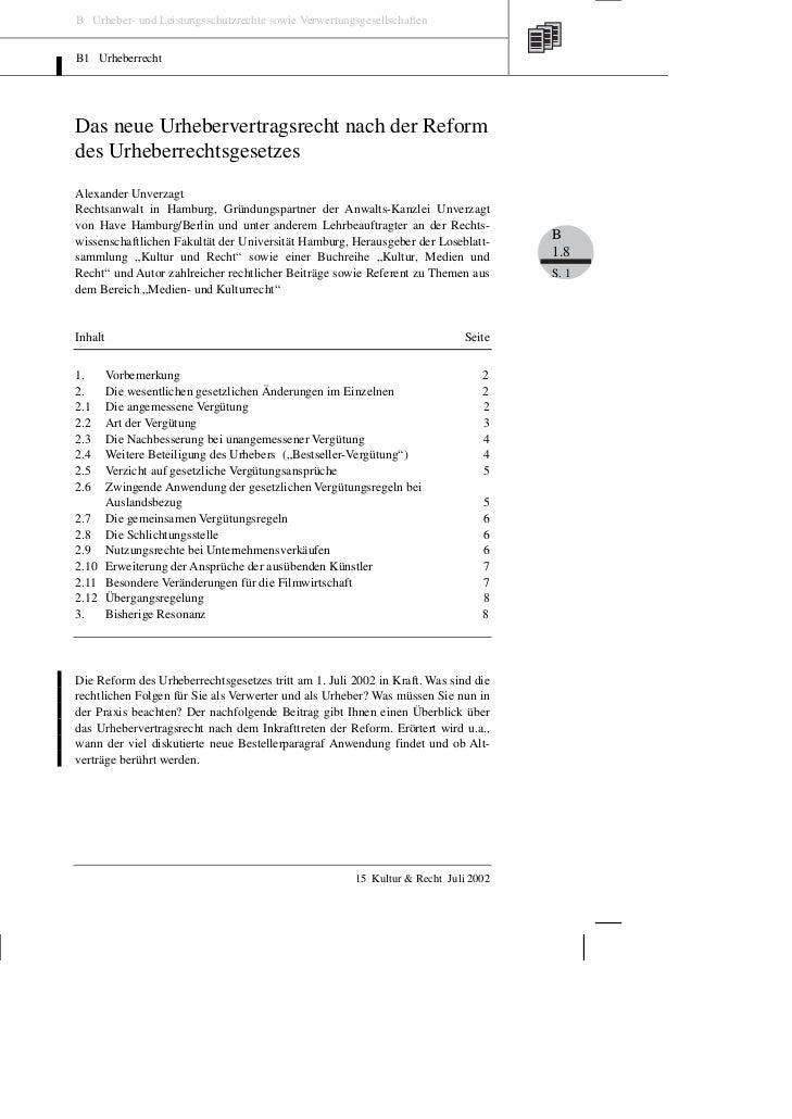 B Urheber- und Leistungsschutzrechte sowie VerwertungsgesellschaftenB1 UrheberrechtDas neue Urhebervertragsrecht nach der ...