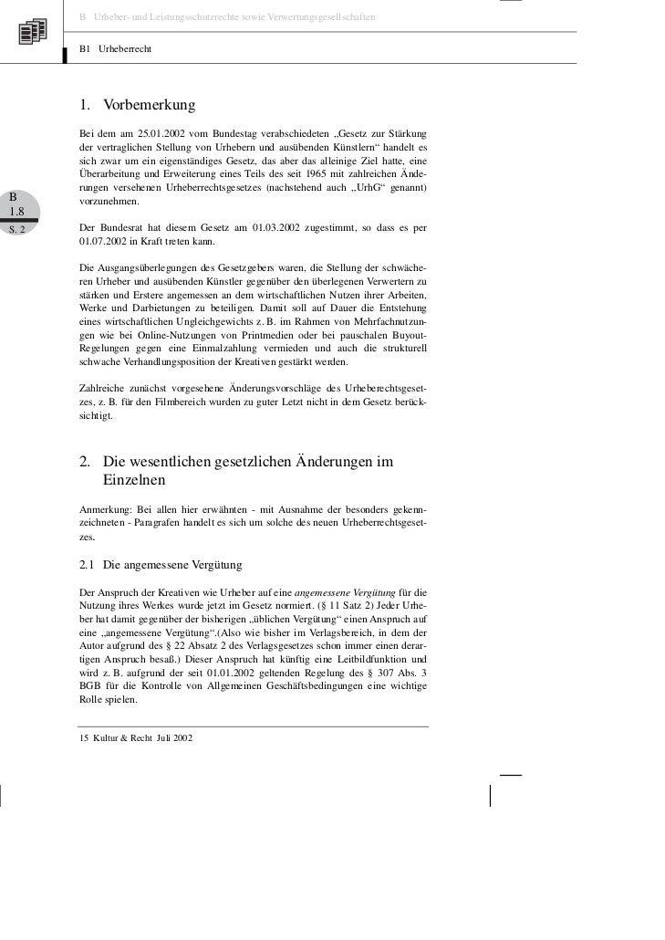 B Urheber- und Leistungsschutzrechte sowie Verwertungsgesellschaften       B1 Urheberrecht       1. Vorbemerkung       Bei...