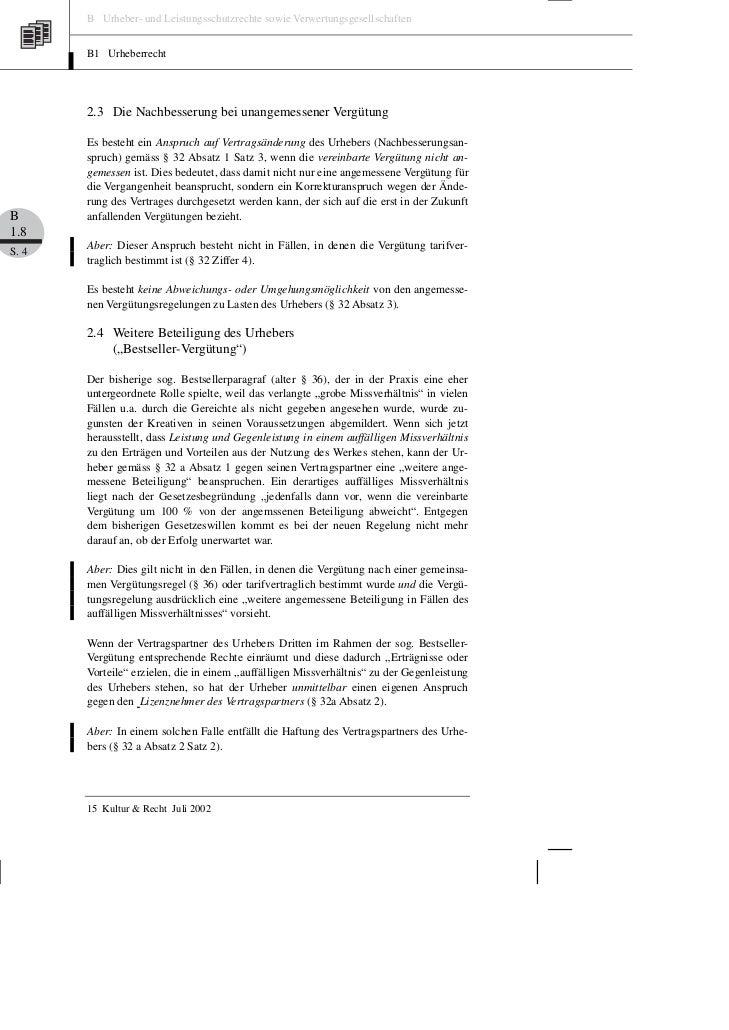 B Urheber- und Leistungsschutzrechte sowie Verwertungsgesellschaften       B1 Urheberrecht       2.3 Die Nachbesserung bei...