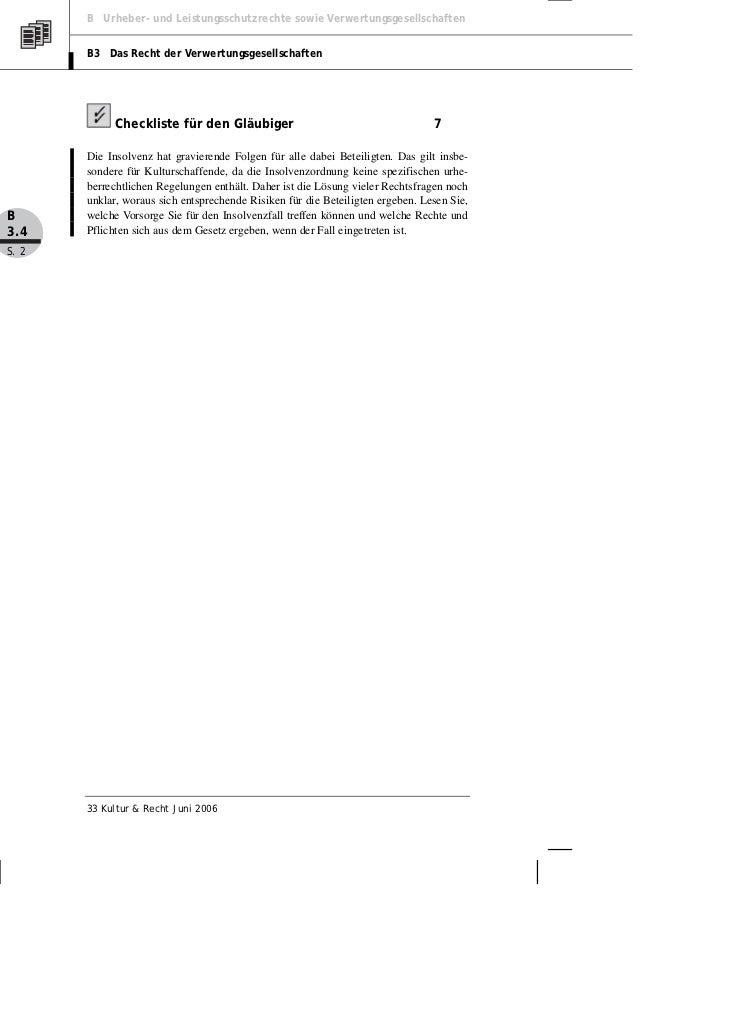 B Urheber- und Leistungsschutzrechte sowie Verwertungsgesellschaften       B3 Das Recht der Verwertungsgesellschaften     ...