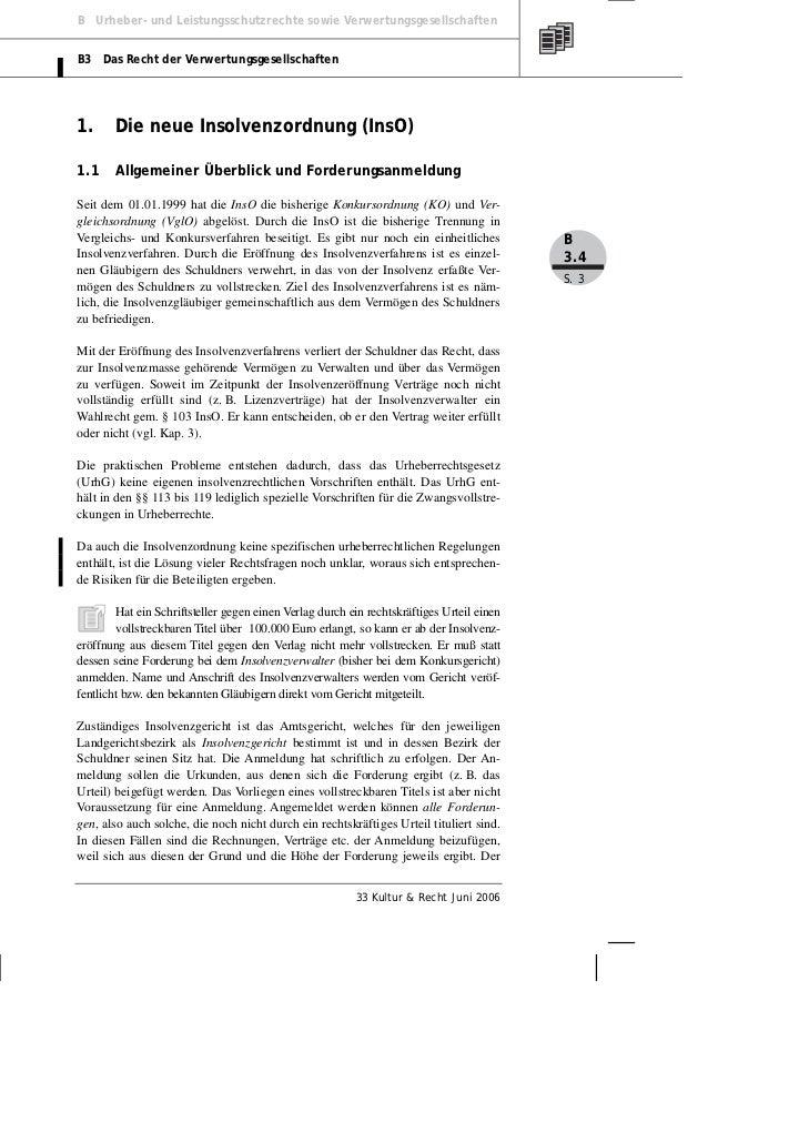 B Urheber- und Leistungsschutzrechte sowie VerwertungsgesellschaftenB3 Das Recht der Verwertungsgesellschaften1.      Die ...
