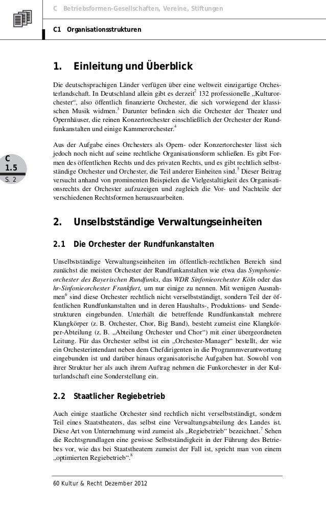 C Betriebsformen-Gesellschaften, Vereine, Stiftungen       C1 Organisationsstrukturen       1.     Einleitung und Überblic...