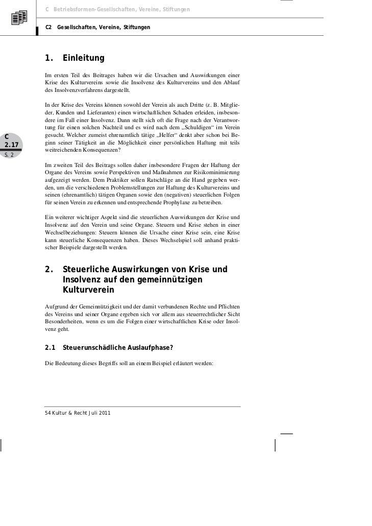 Posselt: Der (Kultur-) Verein in Krise und Insolvenz — Teil II Slide 2
