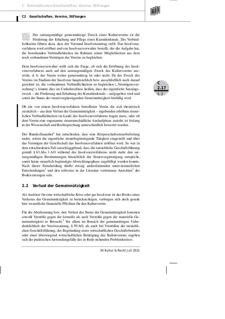 Posselt: Der (Kultur-) Verein in Krise und Insolvenz — Teil II Slide 3