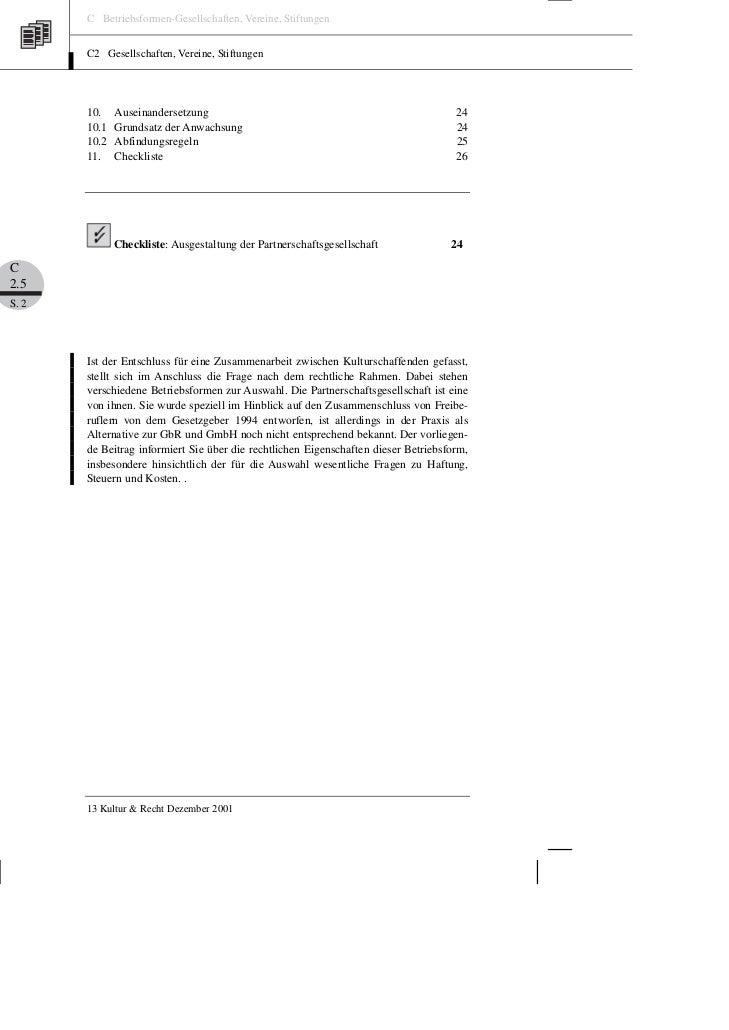 C Betriebsformen-Gesellschaften, Vereine, Stiftungen       C2 Gesellschaften, Vereine, Stiftungen       10.    Auseinander...
