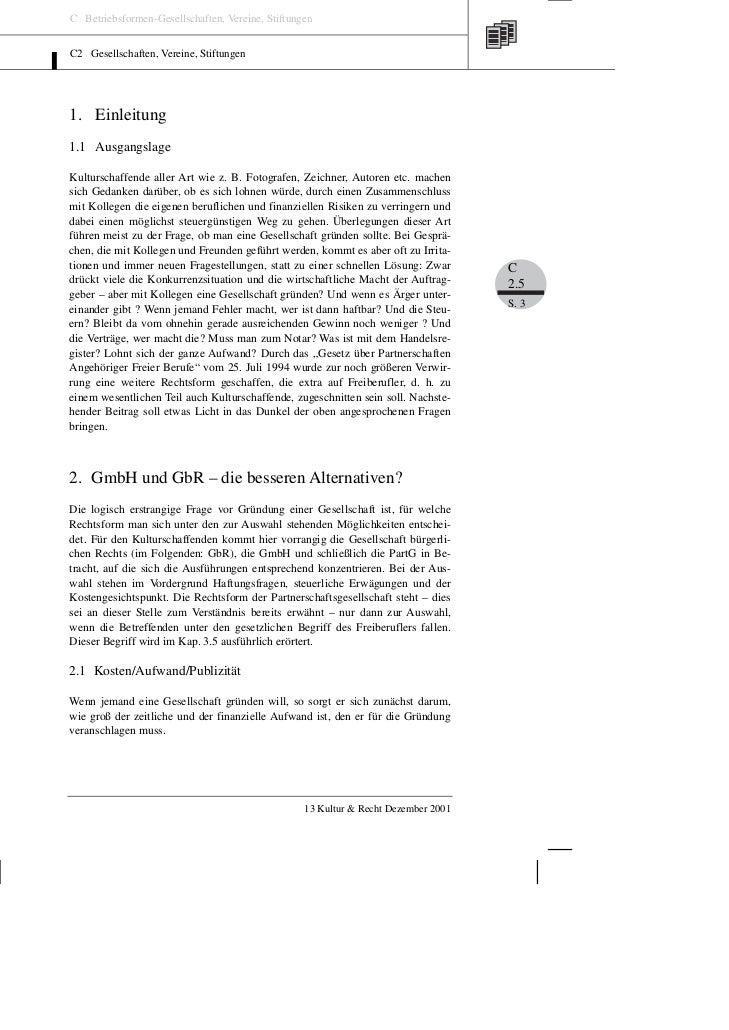 C Betriebsformen-Gesellschaften, Vereine, StiftungenC2 Gesellschaften, Vereine, Stiftungen1. Einleitung1.1 AusgangslageKul...
