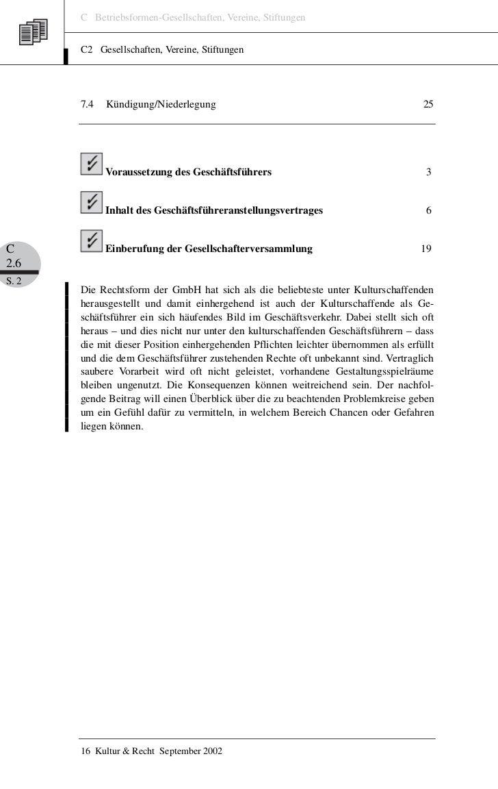 C Betriebsformen-Gesellschaften, Vereine, Stiftungen       C2 Gesellschaften, Vereine, Stiftungen       7.4   Kündigung/Ni...