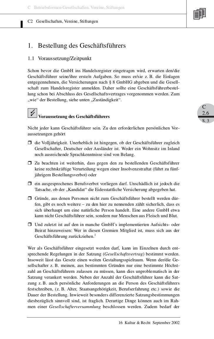 C Betriebsformen-Gesellschaften, Vereine, StiftungenC2 Gesellschaften, Vereine, Stiftungen1. Bestellung des Geschäftsführe...