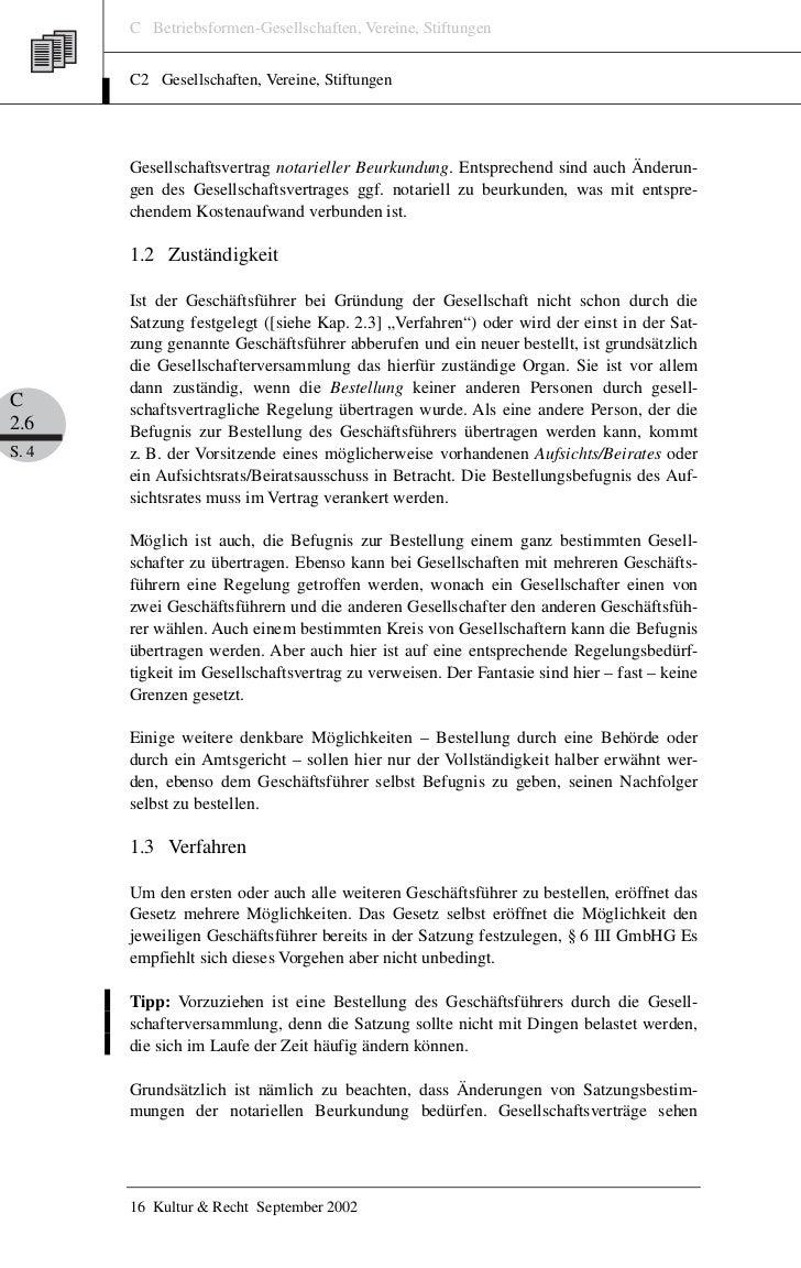 C Betriebsformen-Gesellschaften, Vereine, Stiftungen       C2 Gesellschaften, Vereine, Stiftungen       Gesellschaftsvertr...