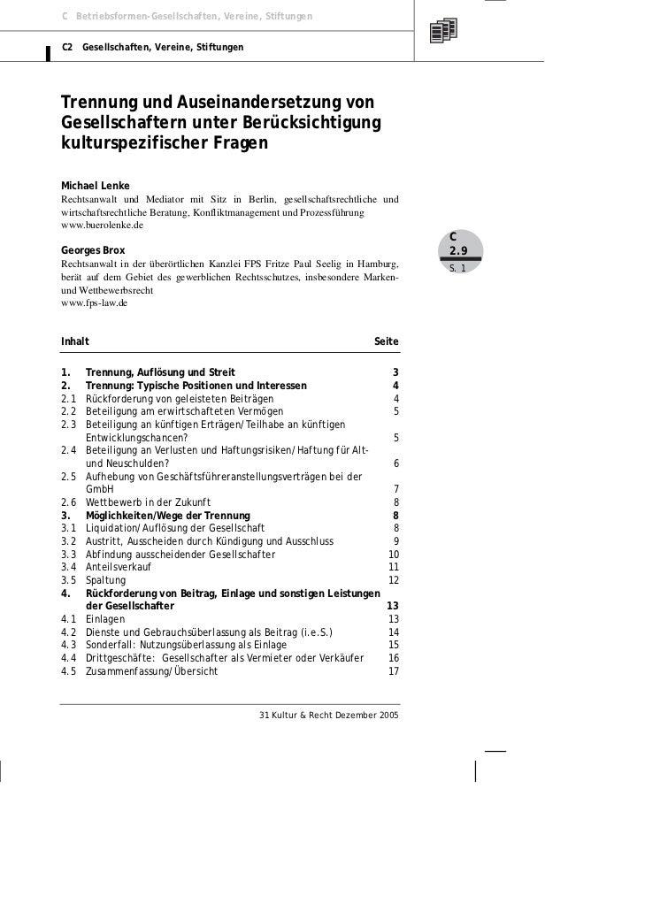 C Betriebsformen-Gesellschaften, Vereine, StiftungenC2 Gesellschaften, Vereine, StiftungenTrennung und Auseinandersetzung ...
