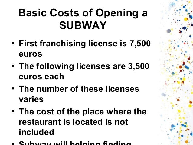 franchising subway essay Fast food and subway essay businesses subway is one of the earlier merchants use franchising way to enter into the chinese market subway franchising has its own advantage and disadvantage, but i still.