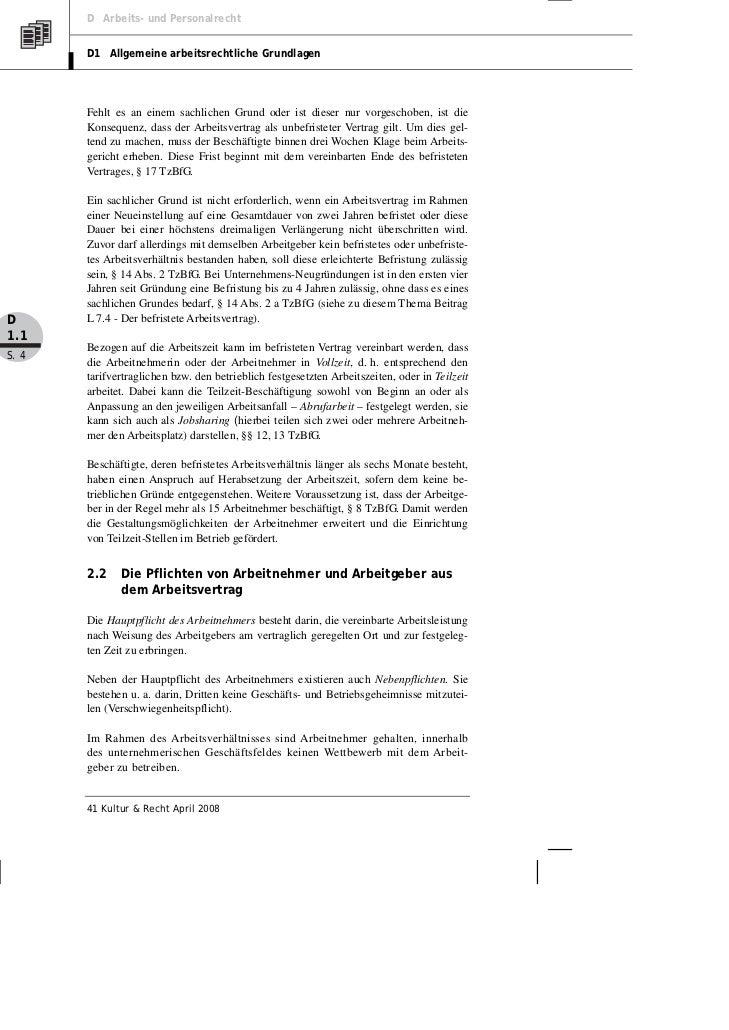 D Arbeits- und Personalrecht       D1 Allgemeine arbeitsrechtliche Grundlagen       Fehlt es an einem sachlichen Grund ode...