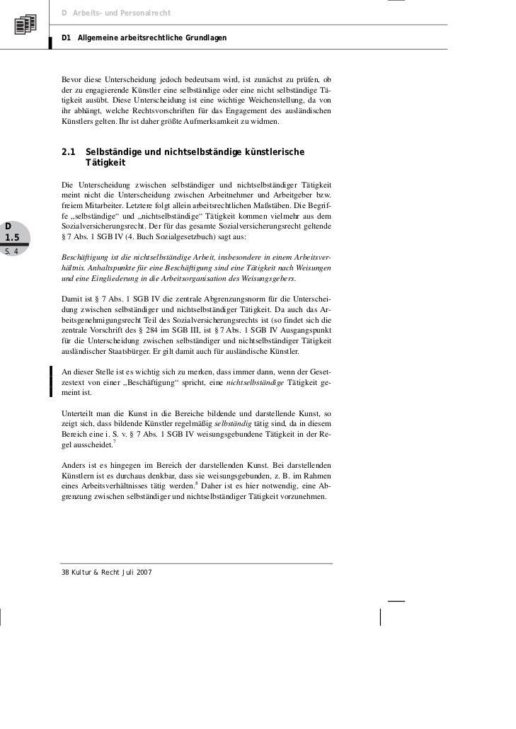 D Arbeits- und Personalrecht       D1 Allgemeine arbeitsrechtliche Grundlagen       Bevor diese Unterscheidung jedoch bede...