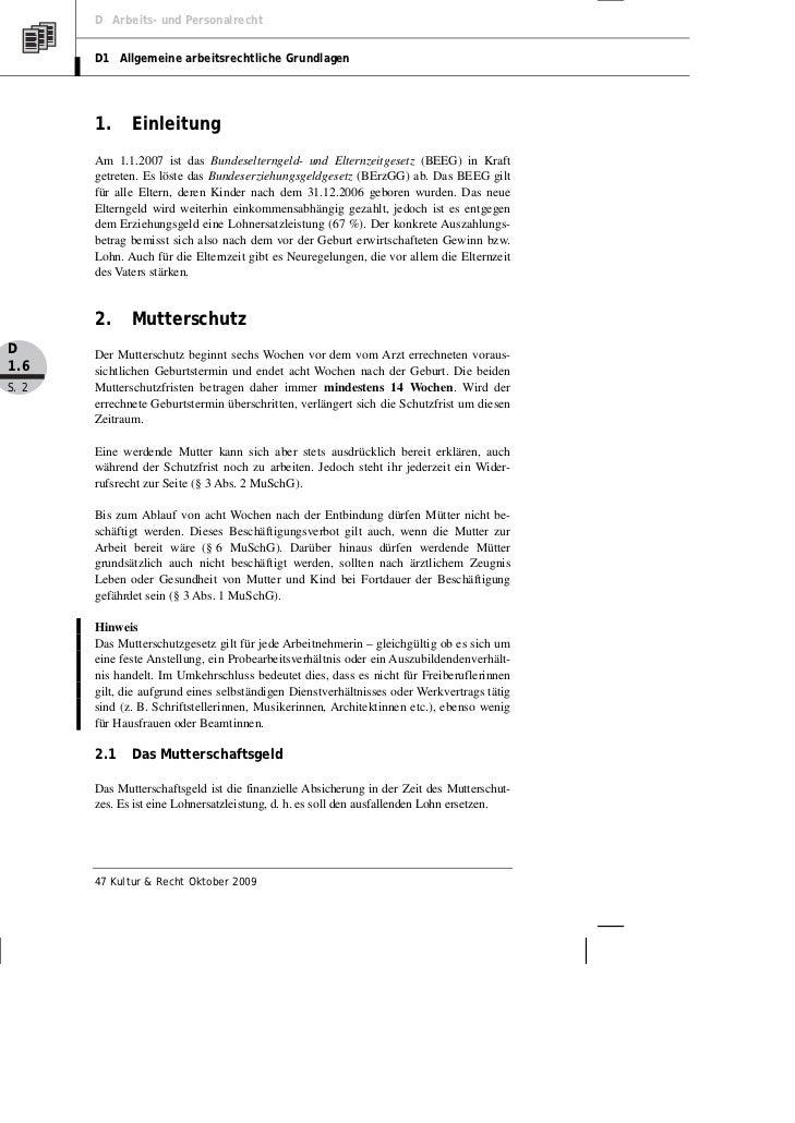 D Arbeits- und Personalrecht       D1 Allgemeine arbeitsrechtliche Grundlagen       1.     Einleitung       Am 1.1.2007 is...