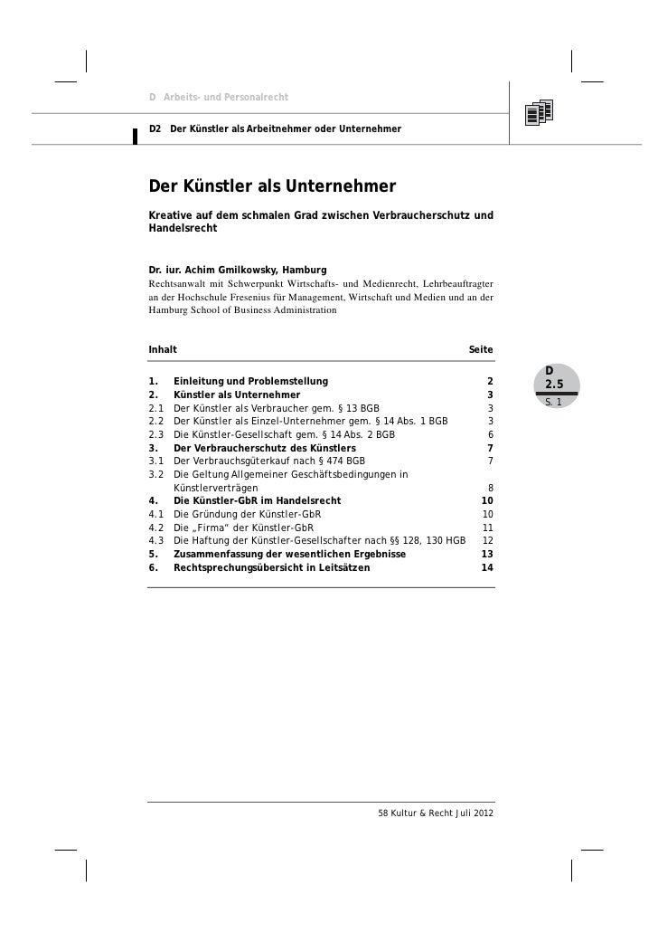 D Arbeits- und PersonalrechtD2 Der Künstler als Arbeitnehmer oder UnternehmerDer Künstler als UnternehmerKreative auf dem ...