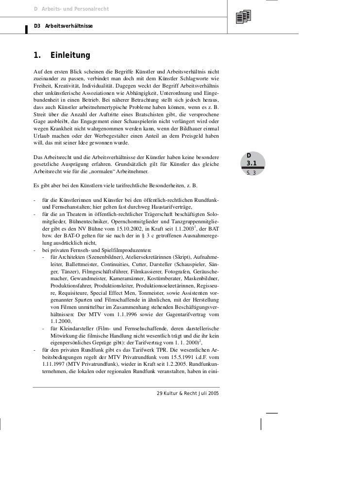 D Arbeits- und PersonalrechtD3 Arbeitsverhältnisse1.      EinleitungAuf den ersten Blick scheinen die Begriffe Künstler un...