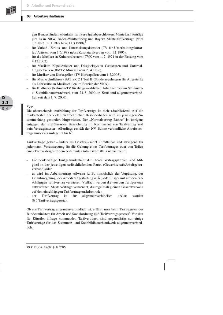 D Arbeits- und Personalrecht       D3 Arbeitsverhältnisse           gen Bundesländern ebenfalls Tarifverträge abgeschlosse...