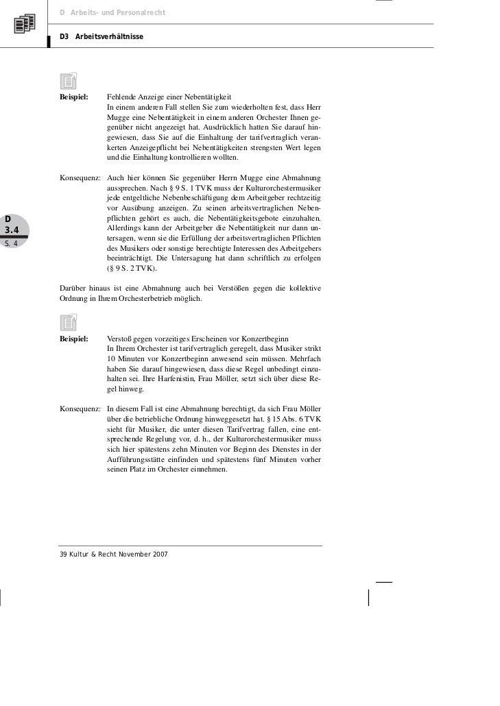 Benclowitz Abmahnung Im Orchester Voraussetzungen Formulierungen U