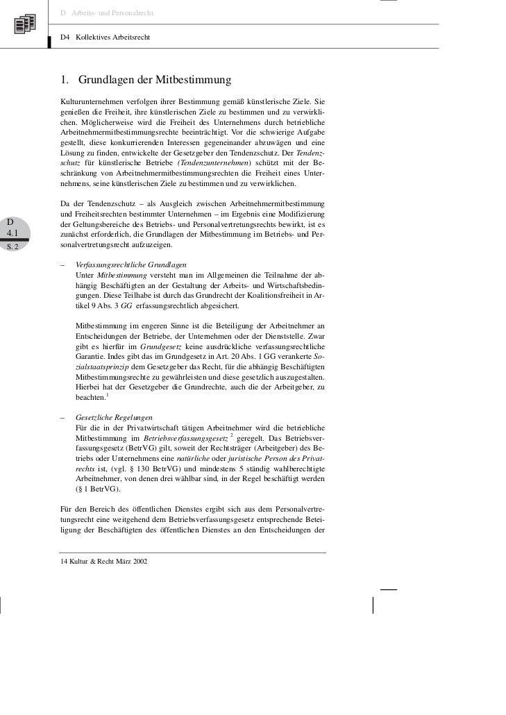 D Arbeits- und Personalrecht       D4 Kollektives Arbeitsrecht       1. Grundlagen der Mitbestimmung       Kulturunternehm...