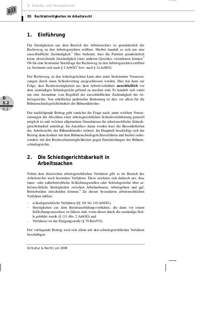 D Arbeits- und Personalrecht       D5 Rechtsstreitigkeiten im Arbeitsrecht       1.      Einführung       Für Streitigkeit...