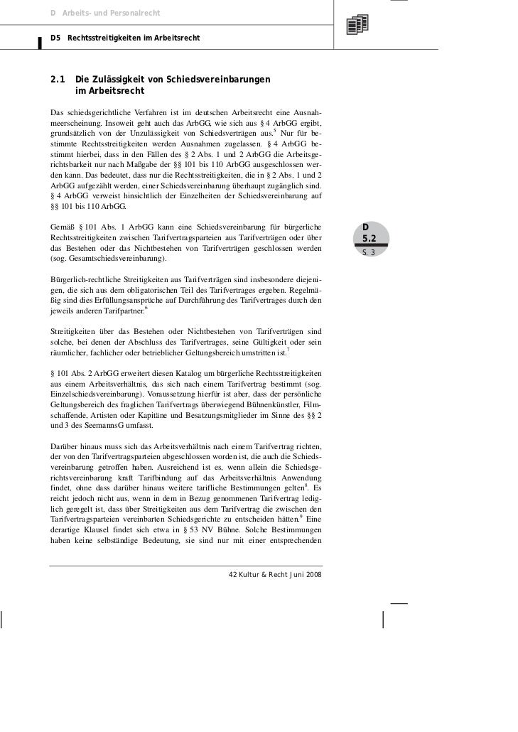 D Arbeits- und PersonalrechtD5 Rechtsstreitigkeiten im Arbeitsrecht2.1    Die Zulässigkeit von Schiedsvereinbarungen      ...