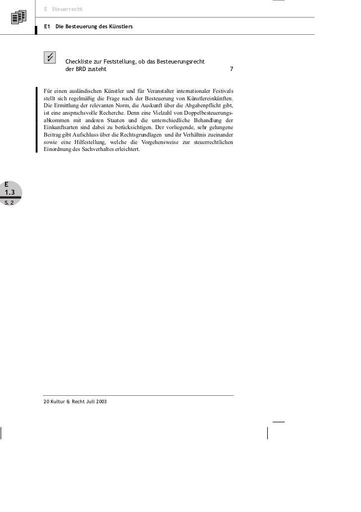 Rundshagen: Doppelbesteuerungsabkommen – Abgabenpflicht für ausländische Künstler und Befreiungsabkommen Slide 2