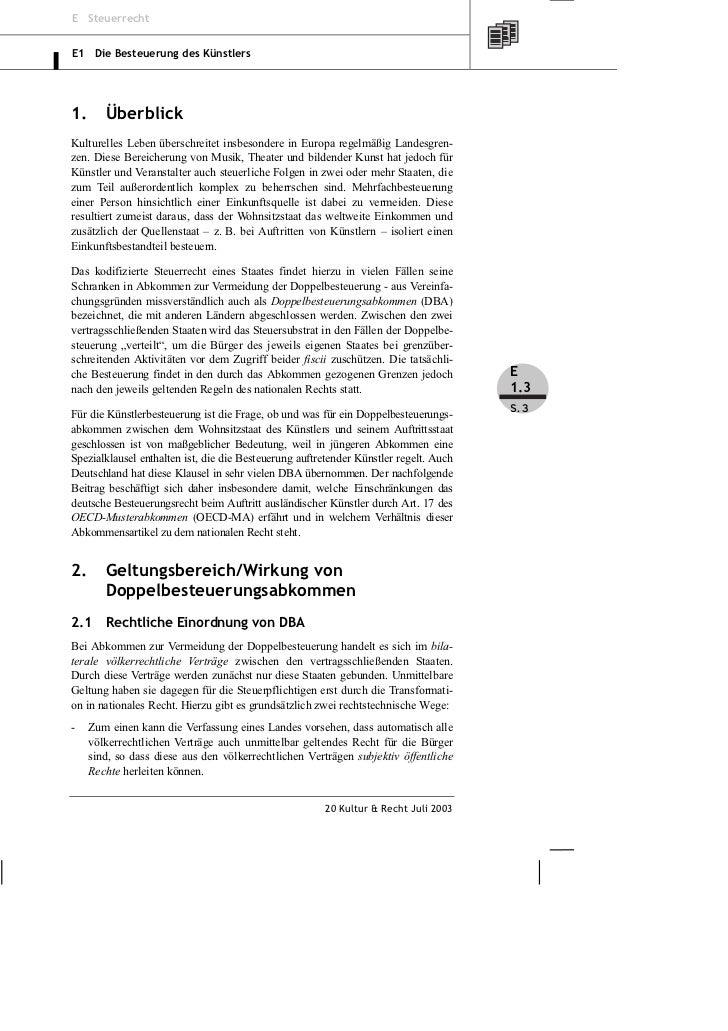 Rundshagen: Doppelbesteuerungsabkommen – Abgabenpflicht für ausländische Künstler und Befreiungsabkommen Slide 3
