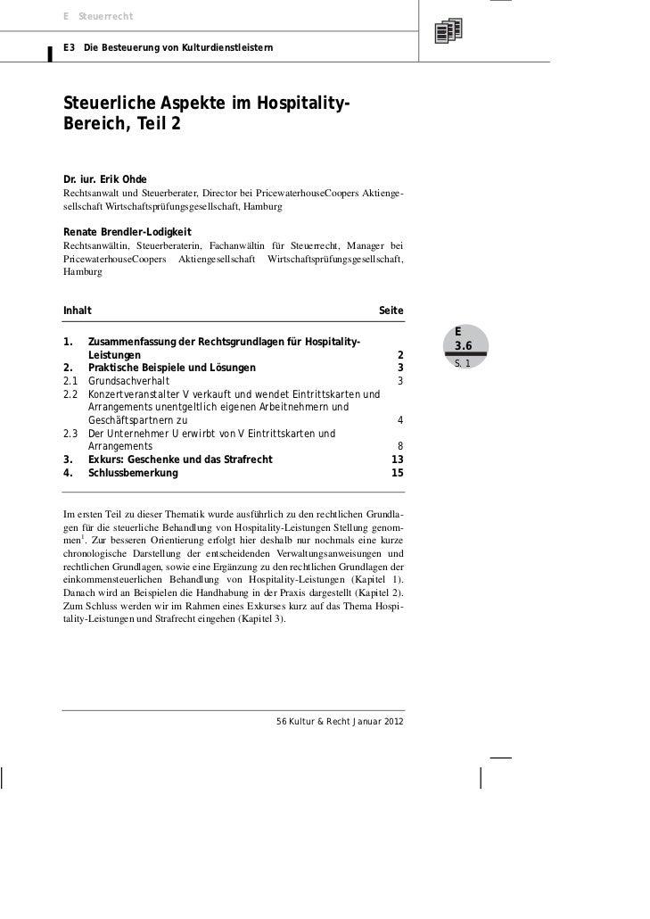 E SteuerrechtE3 Die Besteuerung von KulturdienstleisternSteuerliche Aspekte im Hospitality-Bereich, Teil 2Dr. iur. Erik Oh...