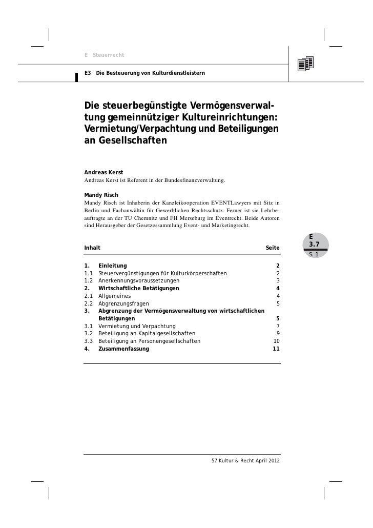 E SteuerrechtE3 Die Besteuerung von KulturdienstleisternDie steuerbegünstigte Vermögensverwal-tung gemeinnütziger Kulturei...