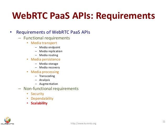 WebRTC PaaS APIs: Requirements  • Requirements of WebRTC PaaS APIs  – Functional requirements  • Media transport  – Media ...